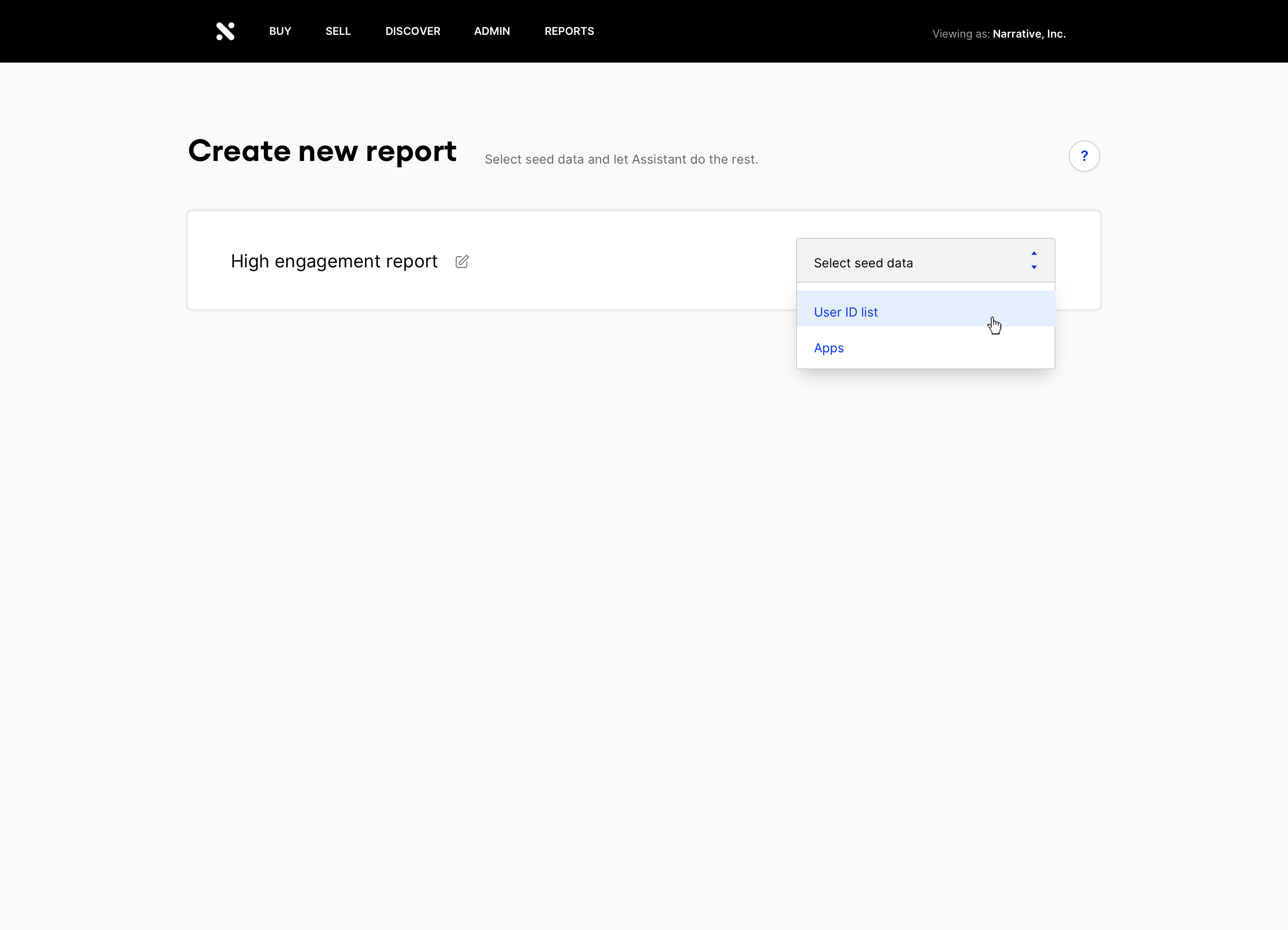 screenshot of Discover Assistant report creation process