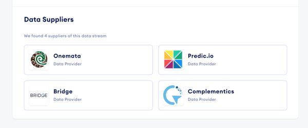 screenshot of data suppliers detail